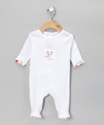 White 'Sweet Heart' Footie - Infant
