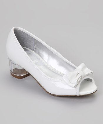 White Freeze Peep-Toe Pump