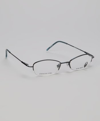 Black & Teal Oval Half-Rim Glasses