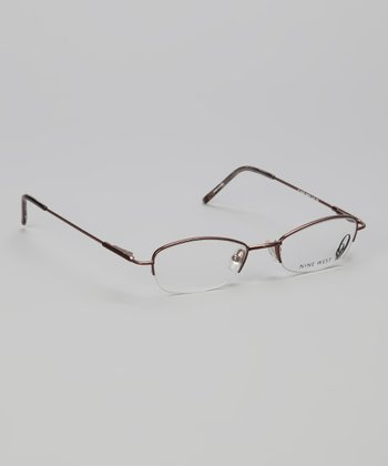 Brown Oval Half-Rim Glasses