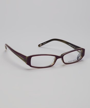Eggplant Striated Glasses