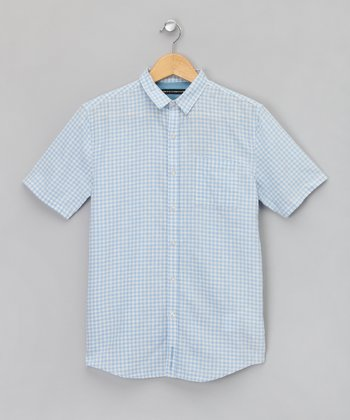 Bleu Gingham Button-Up - Boys