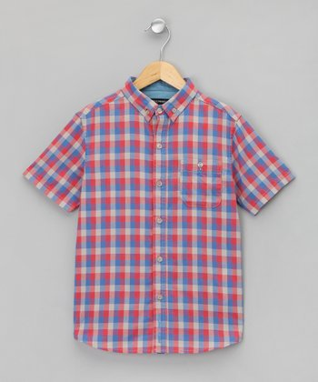 Bleu Plaid Button-Up - Boys