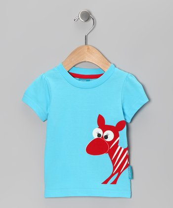 Turquoise Ester the Zebra Tee - Infant, Toddler & Girls