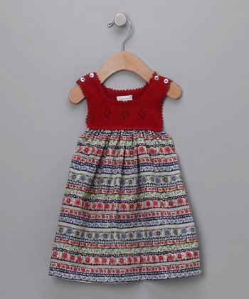 Red Floral Crochet Dress - Infant
