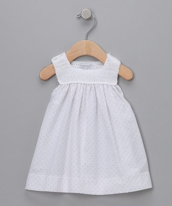 White & Pink Polka-Dot Crochet Dress - Infant