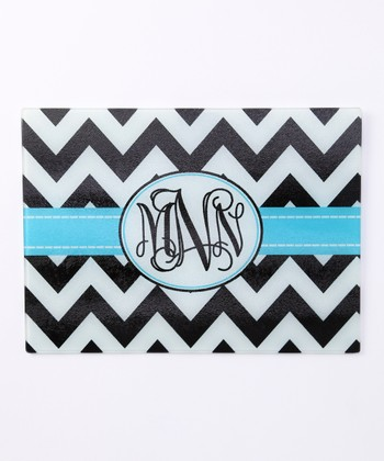 Black & White Zigzag Monogram Cutting Board