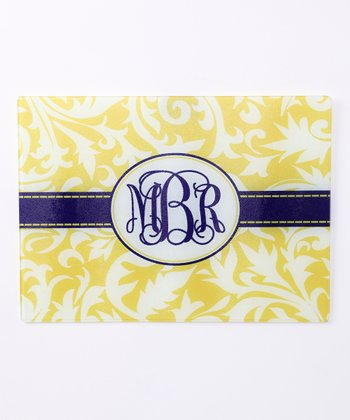 Yellow & Blue Vinyard Monogram Cutting Board