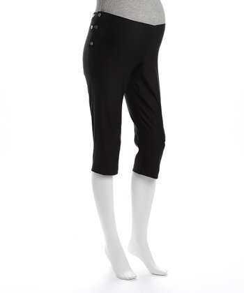 Black Mid-Rise Maternity Capri Pants