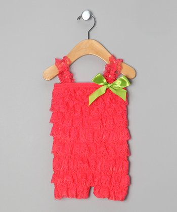 Strawberry Lace Romper & Clip - Infant