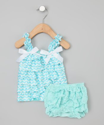 Aqua & White Zigzag Tank & Diaper Cover - Infant & Toddler