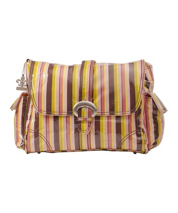 Pink Monkey Stripes Diaper Bag