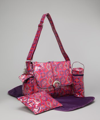 Red & Purple Tic Tac Toe Laminated Buckle Diaper Bag Set