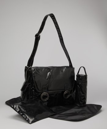 Black Laminated Corduroy Double-Buckle Diaper Bag