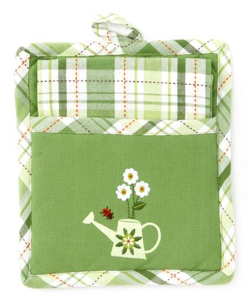 Green Garden Pot Holder & Dish Towel