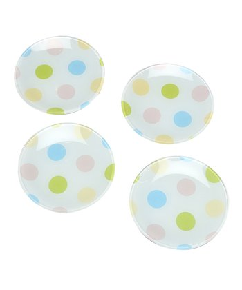 Pastel Dots Dessert Plate - Set of Four
