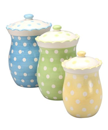 Tea Party Polka Dot Canister Set