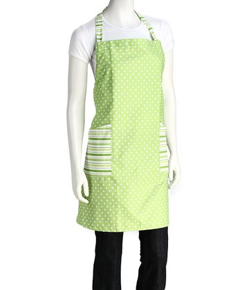 Green Polka Dot & Stripe Apron - Women