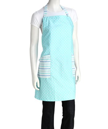 Blue Polka Dot & Stripe Apron - Women