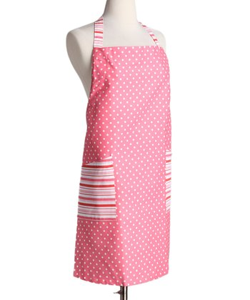 Pink Polka Dot & Stripe Apron - Women