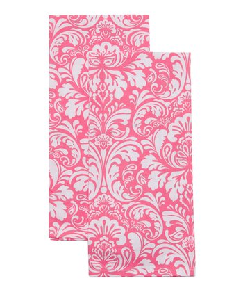 Pink Cosmo Damask Dish Towel - Set of Two