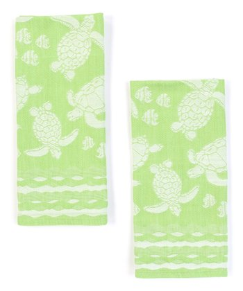 Sea Turtle Jacquard Dish Towel - Set of Two