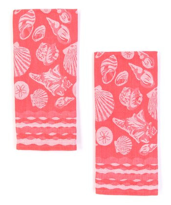 Seashells Jacquard Dish Towel - Set of Two