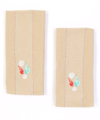 Seashell Embroidered Dish Towel - Set of Two