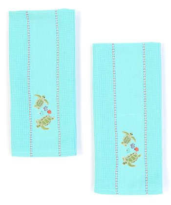 Sea Turtle Embroidered Dish Towel - Set of Two