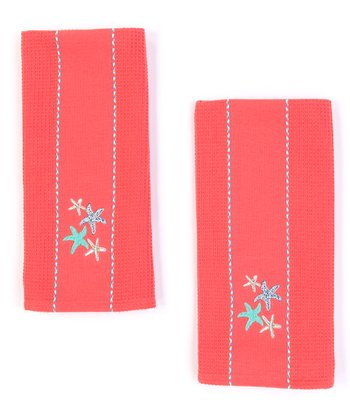 Sea Star Embroidered Dish Towel - Set of Two