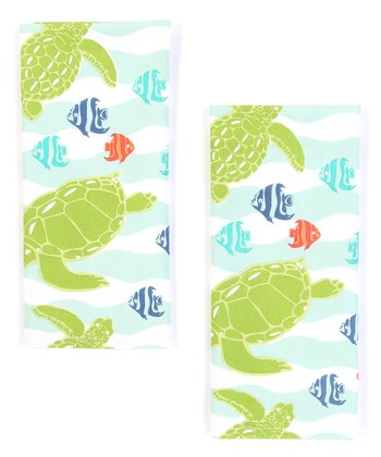 Sea Turtle Wave Dish Towel - Set of Two