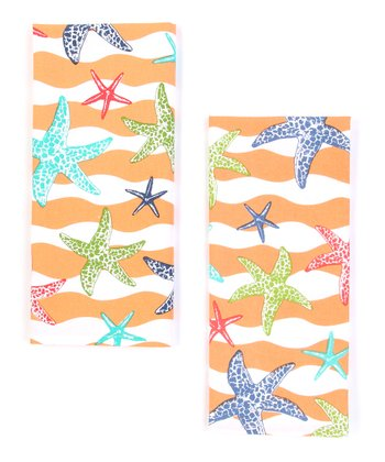 Sea Star Wave Dish Towel - Set of Two