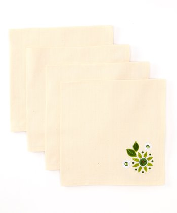 Cream Embroidered Garden Napkin - Set of Four