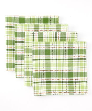 Green Plaid Garden Napkin - Set of Four