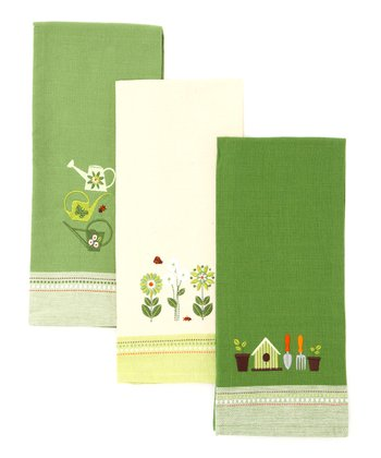 Green Garden Embroidered Dish Towel Set
