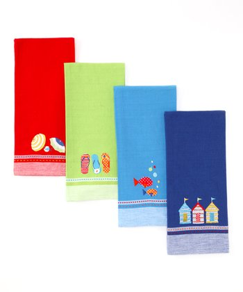 Beachside Embroidered Dish Towel Set