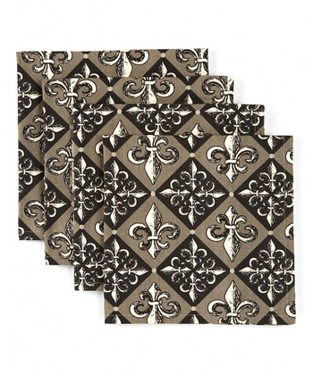 Checkerboard Fleur-de-Lis Napkin - Set of Four