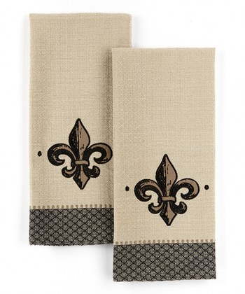 Fleur-de-Lis Applique Embroidered Dish Towel - Set of Two