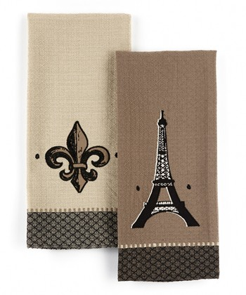 Eiffel Tower & Fleur-de-Lis  Embroidered Dish Towel Set