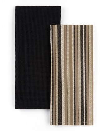 Black Diamond Stripe Dish Towel Set