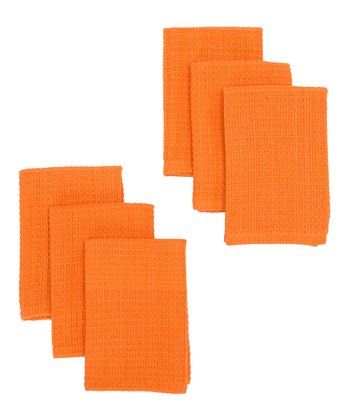 Tangerine Waffle Dishcloth - Set of Six
