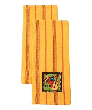 'Olé' Embroidered Dish Towel - Set of Two