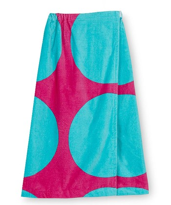 Pink & Teal Polka Dot Spa Wrap