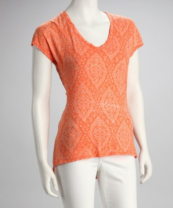 Orange Diamond Cap-Sleeve Tee - Women