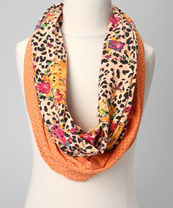 Orange Leopard Infinity Scarf