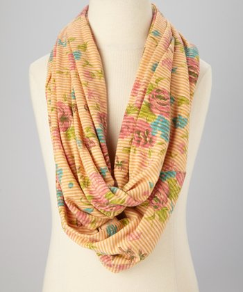 Orange Garden Stripe Infinity Scarf