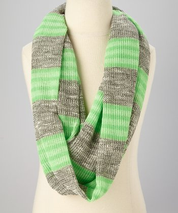 Heather Gray & Lime Stripe Infinity Scarf