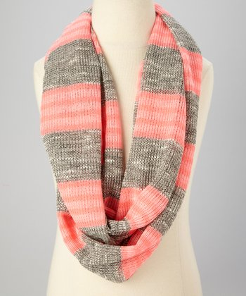 Heather Gray & Pink Stripe Infinity Scarf