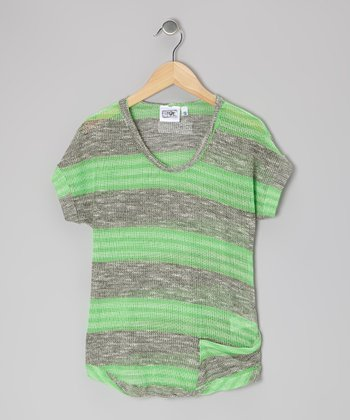 Heather Gray & Lime Stripe Sweater - Girls