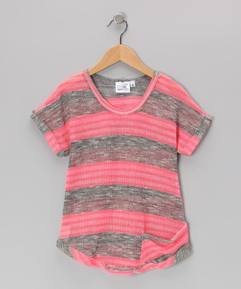 Heather Gray & Pink Stripe Sweater - Girls